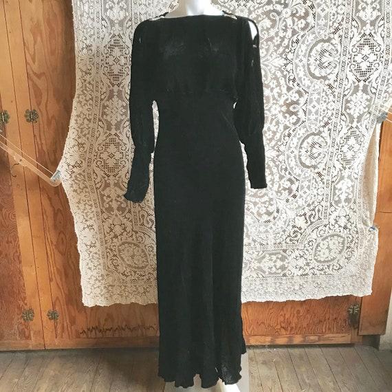 Vintage 1930s Black Velvet Full Length Bias Cut Ev