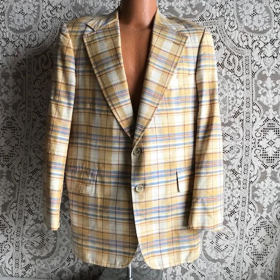 Vintage 1980s 1990s Men's Yellow & Blue Plaid Suit