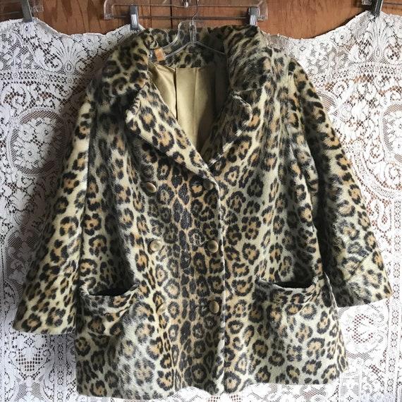 Vintage 1960s Faux Fur Animal Print Leopard Hip Le