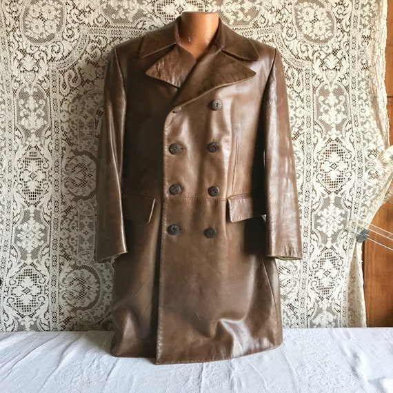 Vintage 1970s 1980s Brown Leather Coat