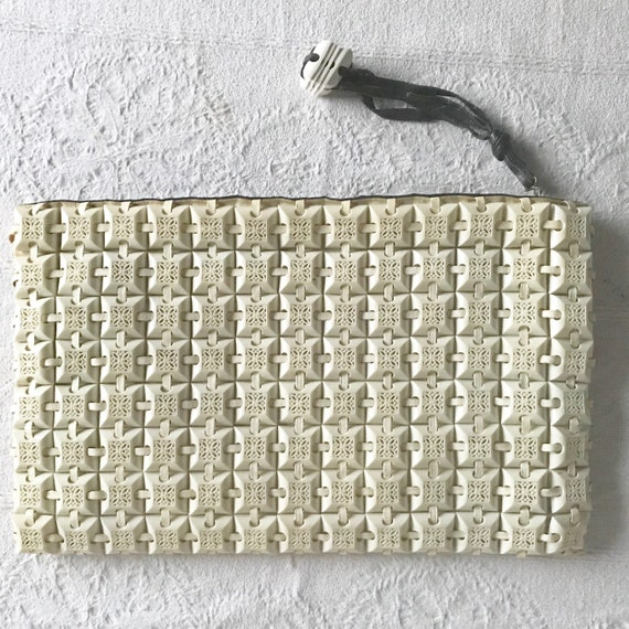 Vintage 1940s Plasticflex White Clutch Purse with