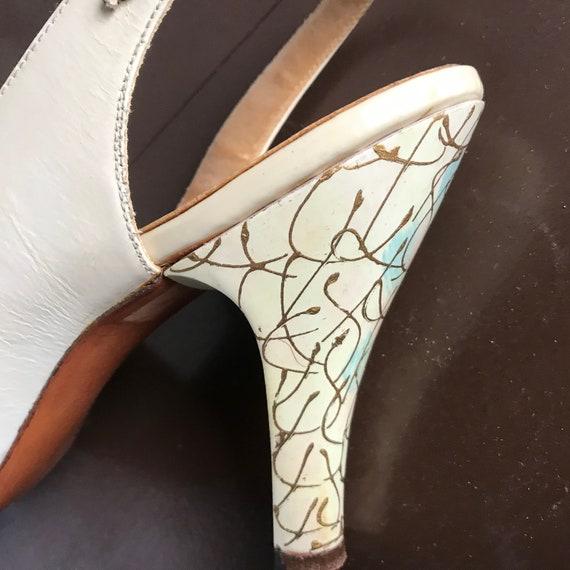 Vintage 1940s 1950s Hand Painted High Heel Open T… - image 9