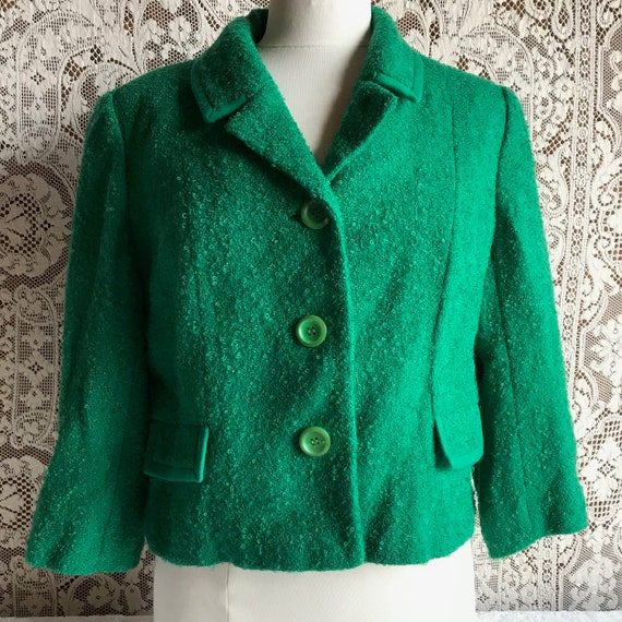 Vintage 1950s 1960s Green Wool Boucle Boxy Cropped