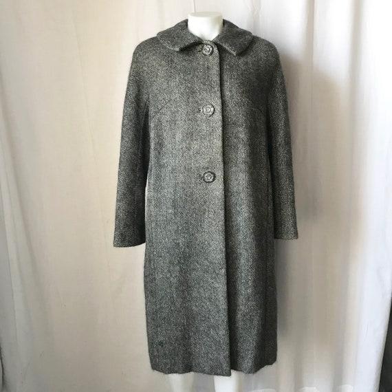 Vintage 1950s Gray Tweed Wool Mohair Coat