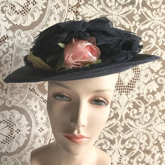 Vintage 1940s Navy Blue Straw Wide Brim Hat with … - image 1