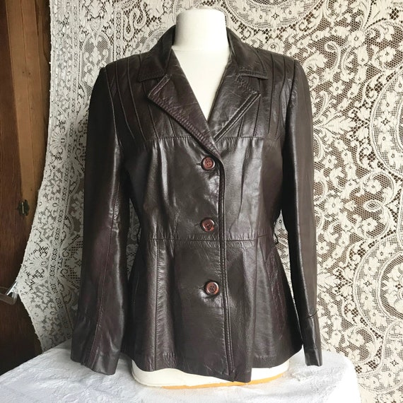 Vintage 1970s Brown Leather Tailored Jacket