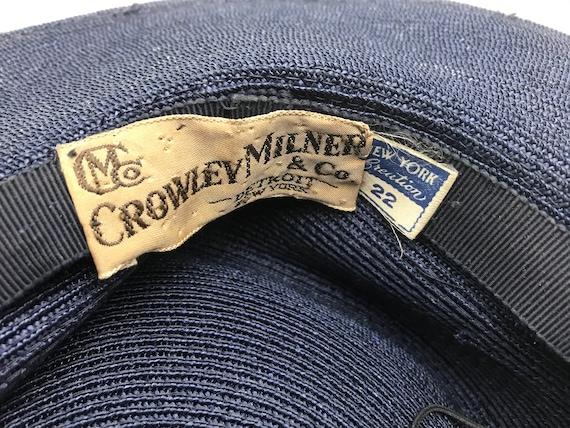 Vintage 1940s Navy Blue Straw Wide Brim Hat with … - image 8