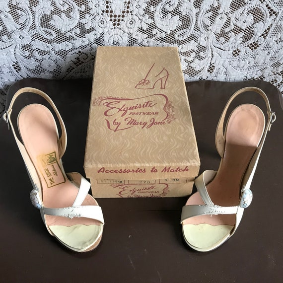 Vintage 1940s 1950s Hand Painted High Heel Open T… - image 10