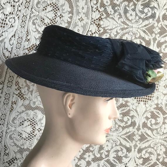 Vintage 1940s Navy Blue Straw Wide Brim Hat with … - image 3