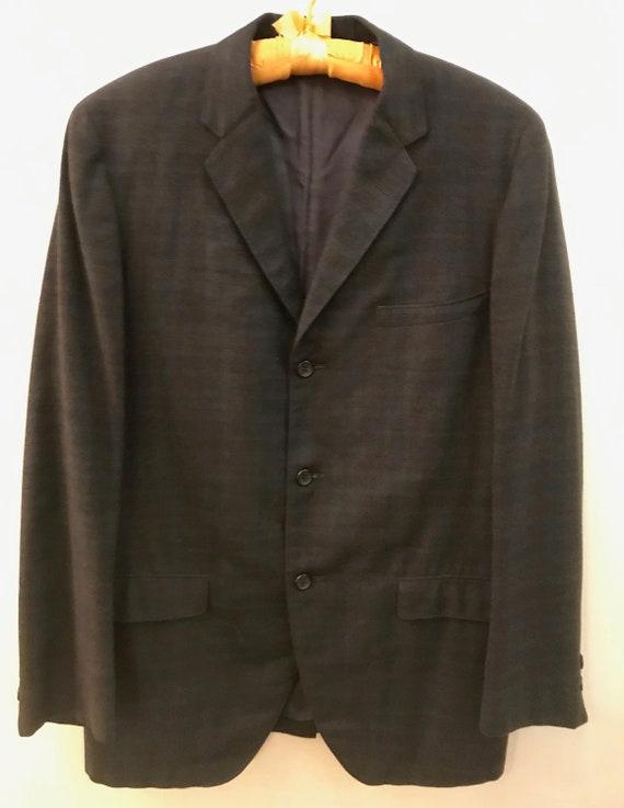 Vintage 1960s Men's Brown & Blue Plaid Wool Suit J