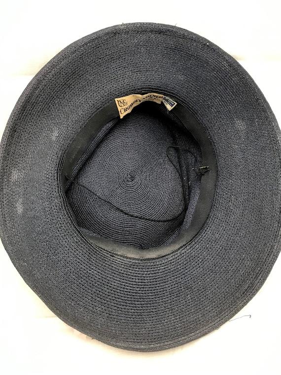 Vintage 1940s Navy Blue Straw Wide Brim Hat with … - image 7