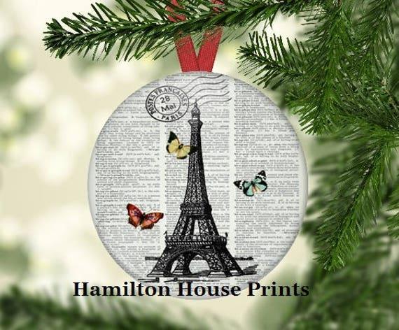 Paris Christmas Ornament.Paris And Butterfly Christmas Ornament Hhp Original Art Paris Gift Christmas Tree Paris Decoration Gift Under 5