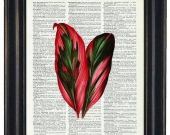 Fern Wall Art Dictinary Prints Tropical Wall Art Leaf Dictionary Art Green Art Tropical Decor Dictionary Art