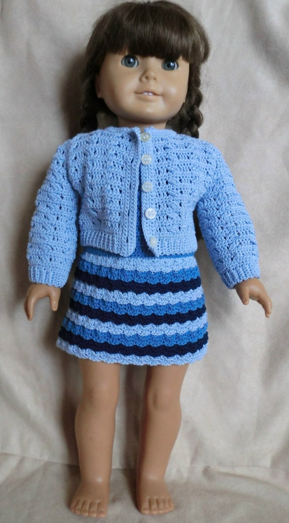 225 Shades Of Blue Outfit Crochet Pattern For American Girl Etsy