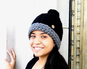 Pom Pom Crochet Hat, Crochet Beanie Hat, Chunky Beanie Hat,Adult, Women, Teen, Hippie, Urban,