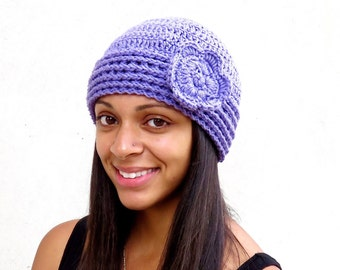 Crochet Hat, Crochet  Beanie, Cloche, Crochet Flower Hat, Color is Light Purple,