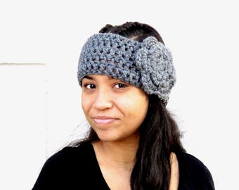 Crochet Headband, Ear Warmer With Flower, Crochet, Gray, Adult, Women, Teen,