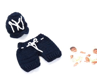 5a537142d Baby Boy Outfits, Baby Short Pants and Hat Set, Blue, Boy, Baseball Team,  Yankees, Baby Shower Gift, Giraffe, (0-3 months), Ready To Ship