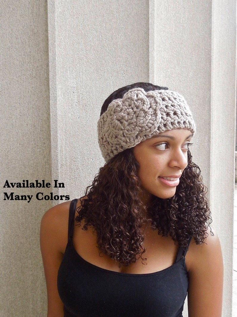 Crochet Headband Flower Headband Ear Warmer With Flower Etsy