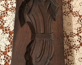 Vintage Wooden Butter Mold Wheat Pattern Large Paddle