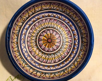 Colorful Italy Vietri Bowl Blue Yellow Italian Pottery