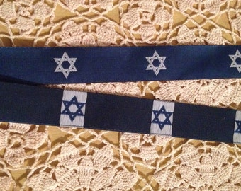 Royal Blue Star of David Trim Hanukkah Ribbon Fabric Yardage FREE SHIPPING