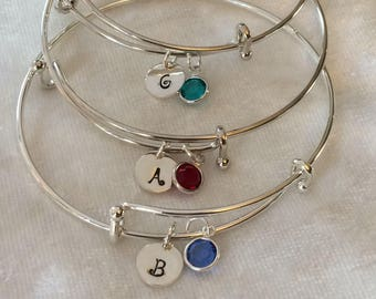 Personalized Stacking Birthstone Crystal Charm Bangle Bracelet- Mother or Grandmother Family Tree Bracelet. Adjustable with Initial Charm