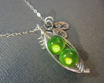 Sweet Peas in a Pod Necklace (2, 3, or 4 peas- pick your color)