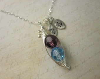 Birthstone Peas in a Pod Necklace (2, 3, or 4 peas- pick your color)