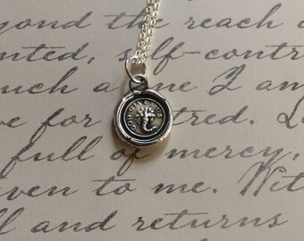 God Gives Us with a Cornucopia  Vintage Antique Wax Seal Stamp Necklace Handmade from Fine Silver