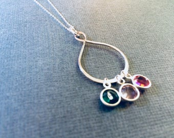 I love you Infinity Necklace for Mom, Grandma, Best Friend, Sisters, Bridesmaid, Children, Family Birthstone Charm Necklace- Great gift
