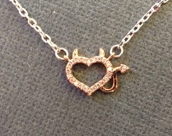 READY TO SHIP Little Imp or Devil Heart Necklace  Perfect for the little trouble maker that you can't help but love!