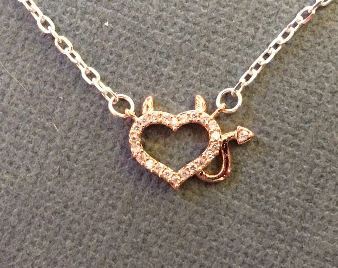 Featured listing image: READY TO SHIP Little Imp or Devil Heart Necklace  Perfect for the little trouble maker that you can't help but love!