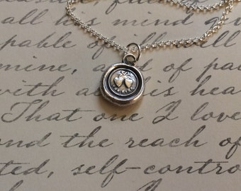 Two Hearts Tied Together Forever. Antique Wax Seal Stamp Pendant Necklace made of Fine Silver. Symbol of Love. Bridal or Valentines Jewelry