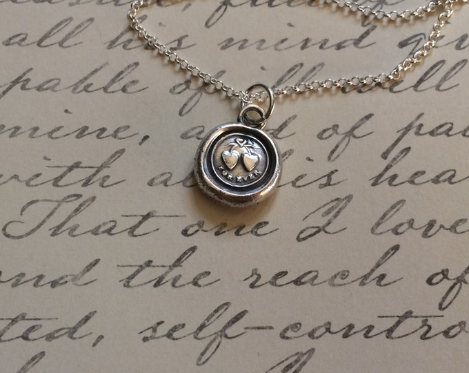 Featured listing image: Two Hearts Tied Together Forever. Antique Wax Seal Stamp Pendant Necklace made of Fine Silver. Symbol of Love. Bridal or Valentines Jewelry