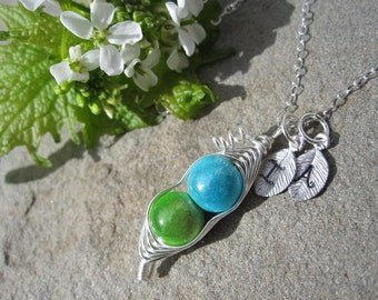 Fitted Sweet Peas in a  Pod Necklace For Friends, Sisters, Moms, Grandmas, Twins (2 or 3 peas- pick your color)