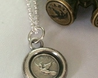 Peace with a Dove  Antique Vintage Wax Seal Stamp Necklace Fine Silver