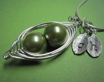 Peas in a Pod Necklace (2, 3, or 4 peas- pick your color)