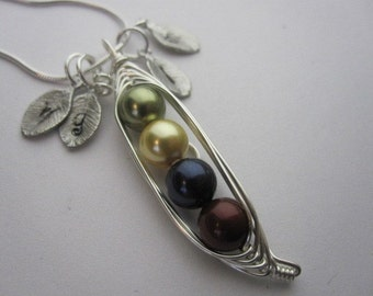 Petite Sweet Peas in a Pod Necklace (3, 4, 5, 6 peas)
