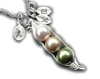Birthstone Sweet Peas in a Fitted Pod Necklace (2 or 3 peas- pick your color)