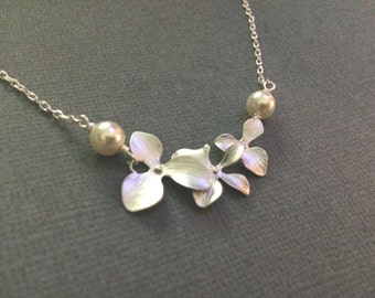 Creeping Orchid  Necklace with White Freshwater Pearl or any colored Swarovski Pearl
