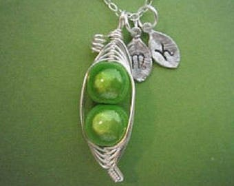Birthstone Sweet Peas in a Pod Necklace (2 or 3 peas- pick your color)
