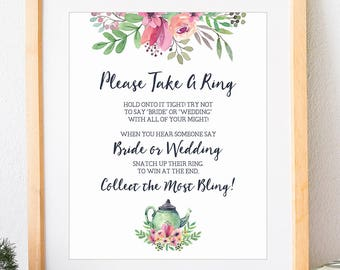 dont say bride game please take a ring bridal shower game bridal shower tea party wedding shower game tea party printable no 1018