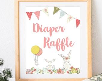 Baby Shower Diaper Raffle Sign, Bunny Baby Shower Theme, Baby Shower Girl, White Rabbit, Alice in Wonderland, Spring, Printable No. IN1014