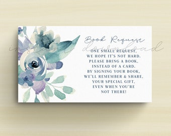 Baby Shower Book Request, Please Bring a Book, Baby Shower Card Insert, Baby Shower Boy, Blue Watercolor Flowers, Printable No. 237