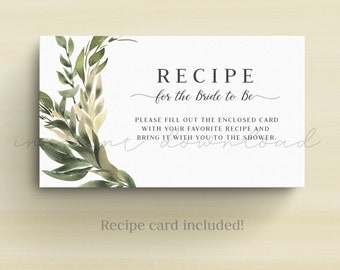 Greenery Recipe Card, Recipe for the Bride to Be Card, Recipe Card, Bridal Shower Activity, Rustic Garden, Printable No. 905