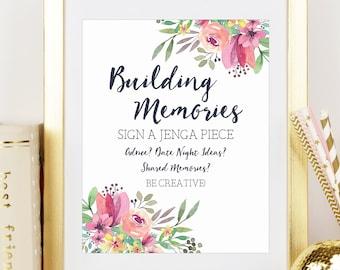 Jenga Wedding Sign, Building Memories, Jenga Guestbook Sign, Bridal Shower, Bridal Shower Decor,Wedding Decor,Watercolor, Printable No. 1018