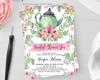 Bridal Shower Invitation, Bridal Shower Tea Party, Garden Tea Party, Watercolor, Flowers, Baby Shower, Birthday Party, Printable No. 1018