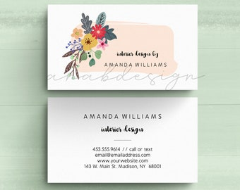Personalized Business Cards, Colorful Floral Business Cards, Interior Design, Stylist, Substitute Teacher, 3.5 x 2 Inch, Free Shipping