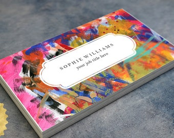 Business cards etsy personalized business cards colorful brushstrokes design abstract artists art teacher 35x2 inch free shipping free customization reheart Image collections